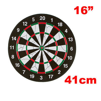 """16"""" Double Sides Flocking Dartboard with 6 Darts, 41cm Dart Board Game Set NEW"""