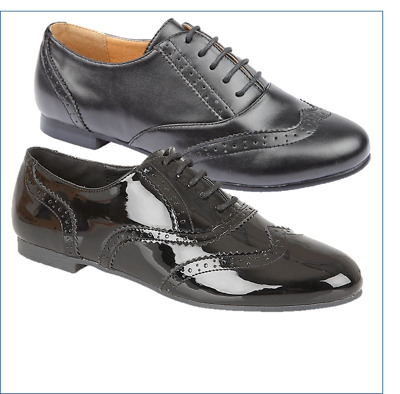 Girls Comfort Black Pu Patent Back To School Lace Up Brogue Shoes