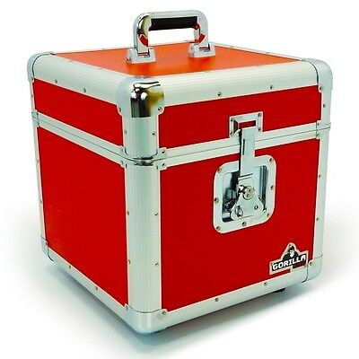 "Gorilla LP100 12"" Vinyl Record Storage Box Flight Carry Case Holds 100 (RED)"