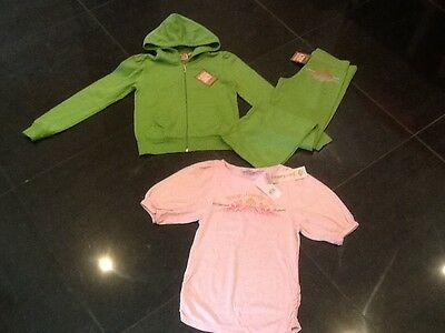 NWT Juicy Couture New Gen. Girls Age 8 Green Cotton Tracksuit/T-Shirt & Logo
