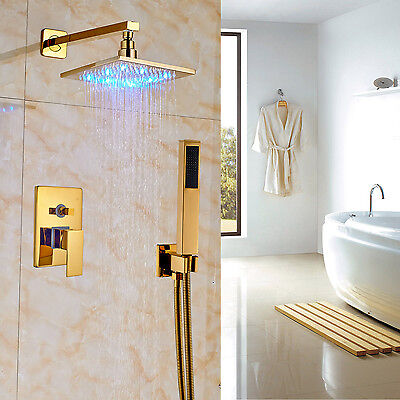 "Bathroom Rainfall LED Light 8"" Shower Set 2-way Mixer with Handheld Spray"