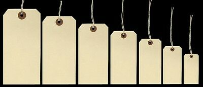 Ivy Cream Manilla Strung Tags Luggage Labels Tag Tickets Tie On Labels (7 Sizes)