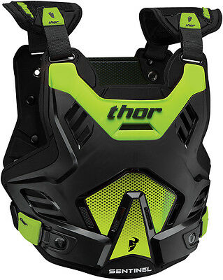 New Thor Sentinel Gp Chest Protector Black Green Body Armour Adult Motocross Mx