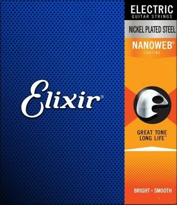 Elixir NANOWEB Electric Guitar Strings - 6 & 12 Sting sets with choice of Gauge