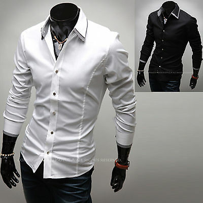 Mens Slim Fit Layered Collar Solid Business Casual Dress Shirts Tops W089 XS/S/M