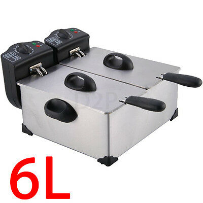 6L Deep Fat Fryer Non Stick Oil Lid Chip Fish Restraunt Twin Fry Stainless Steel