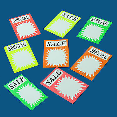 40 x  Mixed Colours SALE SPECIAL Promotion Signs Pack of Sale Retail Shop Sign