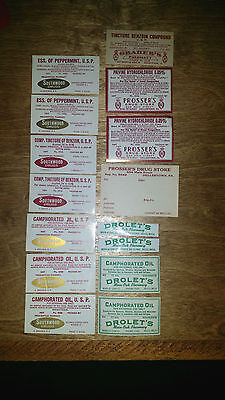 15 VINTAGE Medical Bottle Labels Pharmacy Drolet's Graber's Prosser's Southwood