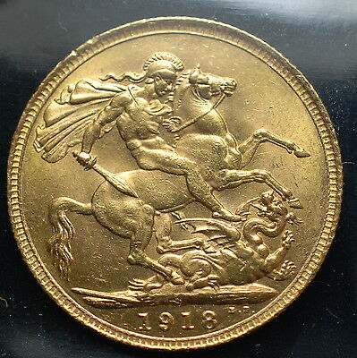 1918 S King George V Australia Sydney Mint Gold Sovereign Coin