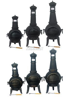 FoxHunter Garden Cast Iron Steel Chimenea Chiminea Chimnea Patio Heater Fire Pit