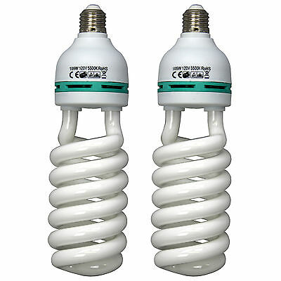 2pk 105W 5500K Photo Studio Bulb Video Photography Daylight Lighting Lamp CFL