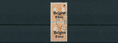 Belgien 8 C. Germania 1918 seltene Type Paar Michel 13 B I Attest (S12801)