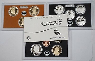 2016 US Mint Silver Proof Set Gem Coins W/ Box and COA