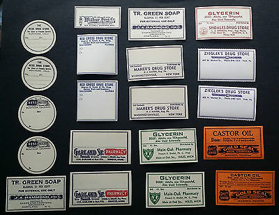 20 Beautiful VINTAGE Medical Bottle Labels Hess Red Cross