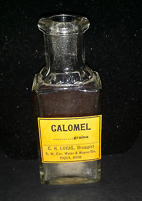 VINTAGE Galomel Medicine Bottle Druggist Ohio Piqua Pharmacy AS FOUND