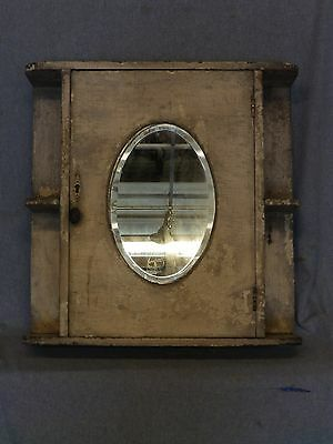 Antique Surface Mount Medicine Cabinet Cupboard Oval Beveled Mirror Vtg 893-16
