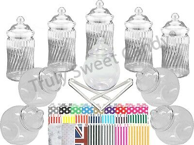 10x 650 & Spiral Plastic Sweet Jars 2 tongs 50 bags  Candy Buffet Wedding PARTY