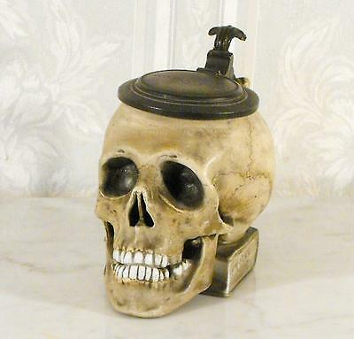 Outstanding Late 19Th C Continential Porcelain Skull Shaped Tankard On A Book