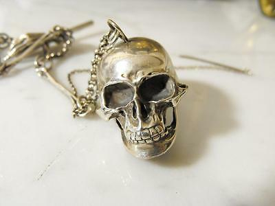Outstanding Late 19Th C English Sterling Silver Snuff Box Watch Chain Skull