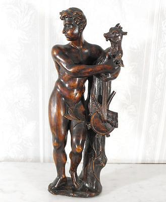 RARE NUDE 15th CENTURY CARVED WOOD STATUE SHEPHERD AND LAMB TIME OF JOAN OF ARC