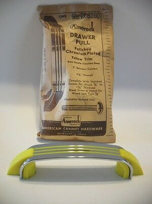 Vintage NOS Chrome Drawer Pull 3 YELLOW Lines w Plastic End Trim Hoosier Amerock