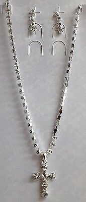 NEW Kids Girls 1126 Silver CROSS Round Princess Rhinestone Necklace Earring set
