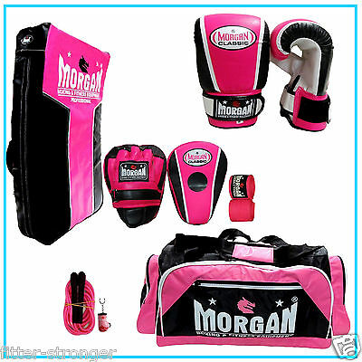Ultimate Morgan Training Pack Boxing Bag Gloves Pads Strike Shield Rope Pink SET