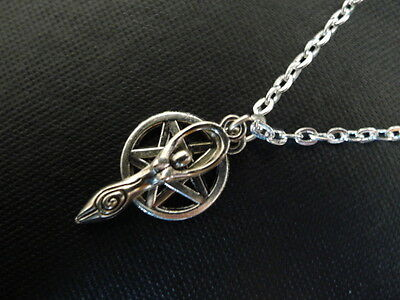 """Goddess Pentacle Necklace 18"""" silver plated chain pendant pentagram wicca pagan"""