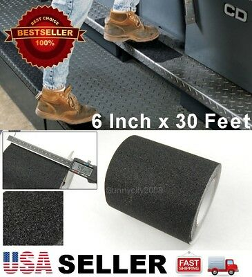"6"" x 30' Black Anti Skid Non-Slip Black Mineral Abrasive Safety Step Tape ""USA"""