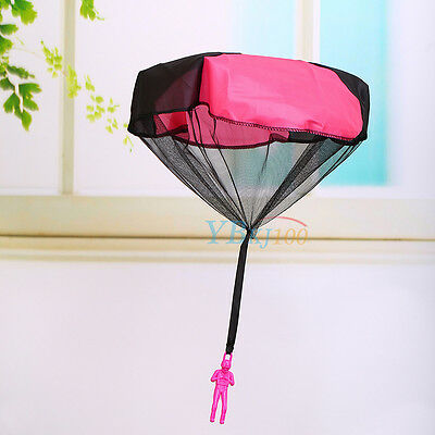 Kid Children Tangle Free Toy Hand Throwing Parachute Kite Outdoor Game Rose Red