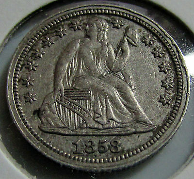 1858  Seated Liberty Dime  Very nice coin toned reverse
