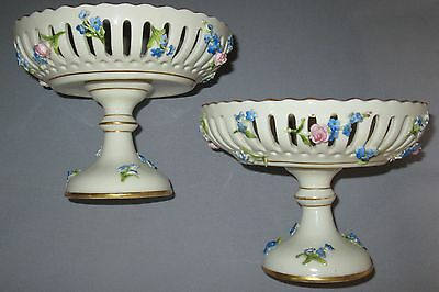 Rare Pair Hp Dresden Schierholz Porcelain Compotes Pierced Side Applied Flowers