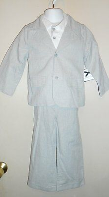 Wendy Bellissimo Infant Boys Linen Blend Three (3) Piece Suit Grey 24M NWT