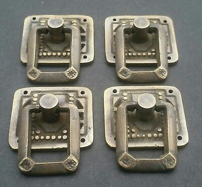 """4 Arts and Crafts Mission antique style brass ring pull handles ~1 1/4"""" #H29"""
