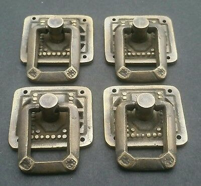 """4 unique Arts and Crafts Mission solid brass ring pull handles ~1 1/4"""" #H29"""