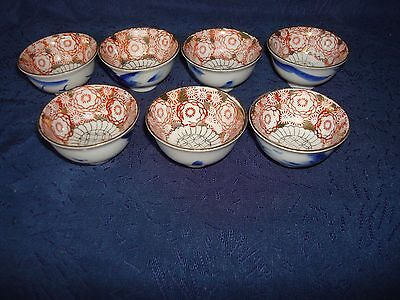 Set Of 7 Vintage Japanese Hand Painting Porcelain Sake Cups