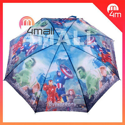 Boys Kids Umbrella Parasol Raincoat Rainproof Avengers Ironman American Captain
