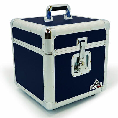 "Gorilla LP100 12"" Vinyl Record Storage Box Flight Carry Case Holds 100 (Blue)"