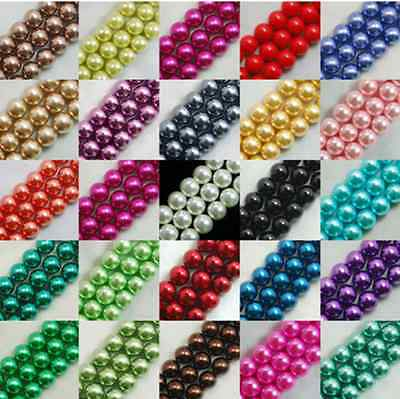 Z003  25 colors Glass Pearl Round Spacer Loose Beads 4/6/8/10mm DIY Wholesale