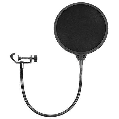 Neewer NW(B-3) 6'' Flexible Wind Pop Filter Mask Shield f Mic w/ Stand Clip