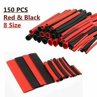 150 Pcs Red&Black Ratio 2:1 Sleeving Wire Wrap Kit Heat Shrink Tubing Tube Cable