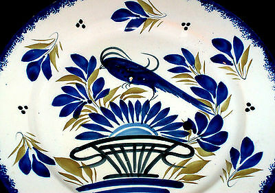 Vintage Henriot QUIMPER Plate France 80  Blue Bird & Floral Decorated 10+ Inches