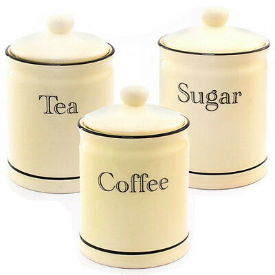 3Pc Tea Coffee Sugar Kitchen Storage Canisters Jar Container Pot Set Canister