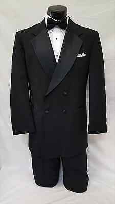 41 R Mens Black Double Breasted Tuxedo Formal Cruise Wedding Gangster Jacket Set