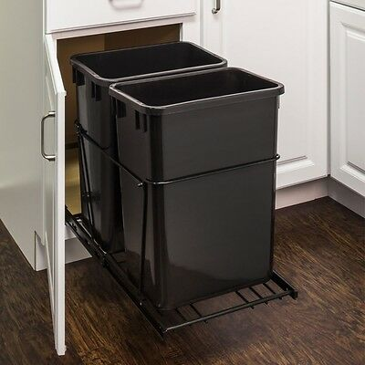 35-Quart- Black Double Trash Can Pullout System, With Cans