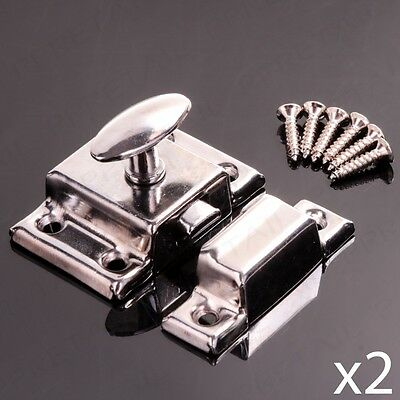 PACK OF 2 CHROME TURN LATCH TWIST LOCK Cabinet/Cupboard/Chest Drawers Door Catch