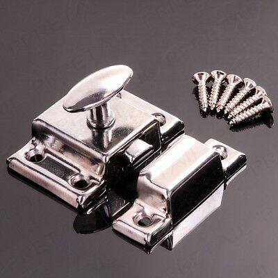 CUPBOARD TURN LATCH 45mm Chrome Desk Cabinet Door Twist Catch Lock + Fixings