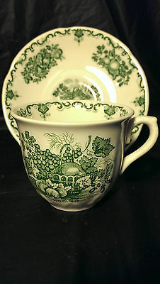 Masons Fruit Basket Green Cup and Saucer Set Excellent Condition 4 Available