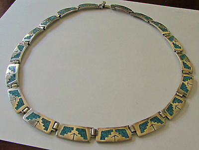 Taxco Sterling Silver Necklace Choker Collar Link Hinged Turquoise Chip Inlay