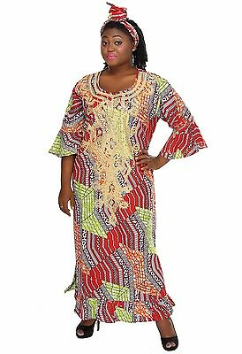 Bell Sleeves Gold Embroidered Maxi Kaftan Dress House African Ethnic Ethiopian